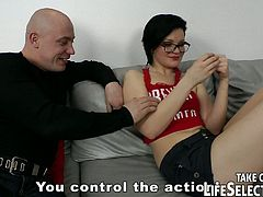 This kinky cum craving coed loves to wear glasses and knee socks during sex