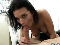 Brunette Bailey Brooks is curious about giving stroke job to handsome guy