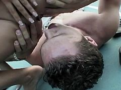 A busty brunette turns a tennis lesson into a fuck fest, as she gets her nipples sucked and has her hairy, wet pussy fingered on the tennis court. After getting her hot pussy licked and asshole rimmed, she sucks a mean dick.