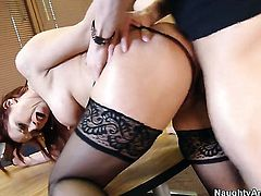 Nicki Hunter with massive hooters and clean snatch gets her wet spot fucked mercilessly by Xander Corvus