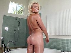 Huge ass is getting washed