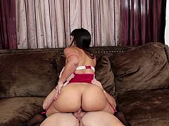 Visit official Mile High Media's HomepageGorgeous brunette with amazing boobs screams like a natsy slut while her man is deep smashing her shaved twat in the couch, all in severe modes