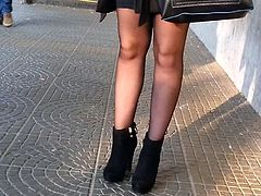 candid pantyhose in bus stop 303