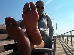 Mature spanish with long toes at the Beach