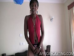 This hot African babe seems to have the right attitude to be a real model. Watch her trying to impress, during this inciting casting! First, she exposes her firm nice buttocks, then shows off her small tits to the camera... See her sucking dick with sheer fervor.