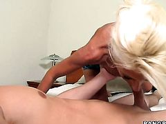 Blonde Puma Swede lets dude shove his rock solid ram rod in her mouth