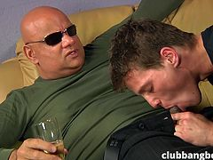 Watch the handsome guys taking long dicks in their mouths and asses. The mature bald guy is drinking beer and instructing, while enjoying the blowjob from indecisive guy. This bareback fucking video ends with...