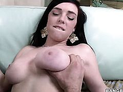 Brunette Mary Jane Mayhem with huge boobs jerks dude off