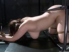 japanese milf tied-up in dungeon and used