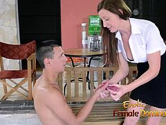 Office woman gets her employee dildo her femdom style