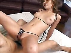 Arousing Jpanese chick gets wet pussy poked with fingers then fucked