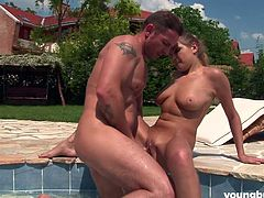 amateur couple passionately fucks in the swimming area
