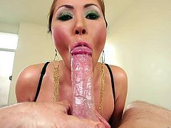 Asian pornstar Kianna Dior with wet huge tits gives titty job and then gets face fucked POV style. Horny guy with meaty cocks loves banging her massive titties and hot mouth.