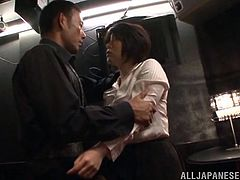 Rin is trying to relax in the teacher's lounge, but her coworker is so horny. He is very rough and brings her to the floor, chokes her, and rubs her pussy over her nylons. She wants him to stop, but it feels so good.