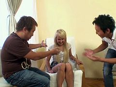 Arousing blonde chick Amelie sucks the dick with the grand passion