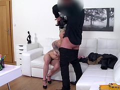 Thomas does fake castings, but this hot piece doesn't know that yet. And she's willing to expose her generous boobs for the camera. Click to watch the horny guy, persuading the short-haired tattooed bitch to play with his cock! Enjoy.