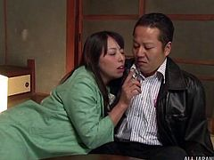 40 year old Ryoko is so horny. She has her man right where she wants him. The hot mature woman climbs on top of him, to ride him after a hot make out session. Her pussy is so wet and moist around his cock.