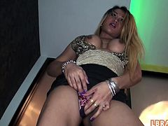 Thai ladyboy whore Pam getting her gaping ass stretched up with huge ass-toy, fucked bareback and cum-loaded.