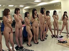 You never know what will happen in a Japanese office, I guess. This entire group of women stripped naked and began masturbating. One guy was in there, and he was getting a nice blowjob from one of his coworkers.