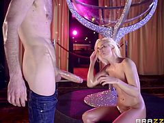 Jessie Volt, slutty french chick with amazing body and big bubble butt, gets her ass stretched wide by a massive pulsating cock. After the striptease, she just couldn't restrain from bending over and taking that humongous dick inside her tight pink asshole. Ain't you envy of that man?