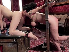 Lily Labeau, slender fragile blonde and Arabelle Raphael, busty brunette with meaty ass, came today to visit us on