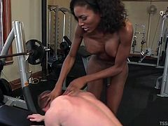 I met this delicious chocolate tranny in the gym and before long, we were nude and having great sex. She stuck her big black cock down my throat and rammed my tight asshole hard bareback. The ebony shemale goddess made me suck on her toes and used me like a sex toy.