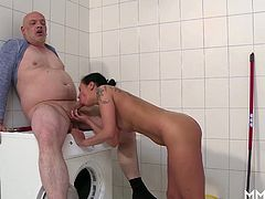 Horny German Milf is home alone and needs her washing machine fixed. Luckily the plumber has a big pipe so she gives him a hand, a mouth and a pussy and drains his pipe into her mouth.