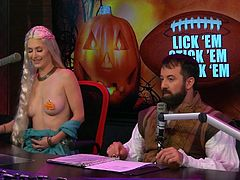 Playboy's Morning Show here features a Halloween-themed show. The pretty ladies being interviewed are all dressed up, just like the d. j. 's. Women dressed as nun, Nefertiti, a prostitute and a mermaid have come together at this party. Enjoy!