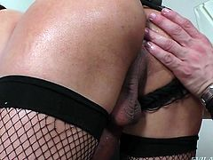 Alex finally got the chance to take this elegant transsexual home with him. The hot tranny has a massive cock, begging to come out of her lace panties. She quivers and moans with desire, as he sucks on that sweet lady meat. A rimming and ass fucking make things even more intense.