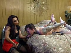 Ruckus needs to be punished. He is tied up by cruel and sexy shemale Jessy. She will make him obey her every command. Can he take the thick cock as it is shoved down his innocent throat? Check out this hot shemale domination.