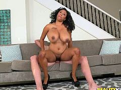Beautiful chubby ebony babe Danni, loves being involved in interracial sex with a white guy's cock. As most of black bitches, she can offer her great body with big hot 36DDDD tits and nice ass. Wish everyone to have such a perfect dark meat, riding and jumping on their erected dicks.