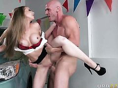 Car selling slut gets nailed by Johnny Sins