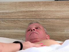 Johan is sick and in bed. He needs some special care and Brittney comes to provide it. After getting naked, she uses her hands to stroke his cock. This makes him very happy, and he gets even happier, when she uses her mouth.