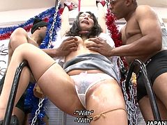 It was her fantasy to be checked out and fucked by the black dudes from the urban areas. Now she is tied up by them and treated to some sex toy bdsm fantasy session.