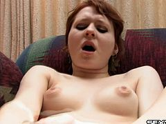 Two vibrators make this redheaded girl have a toe curling orgasm