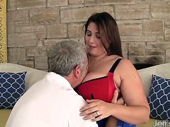 Thick and beautiful plumper seduces an older guy with her curvy body and big tits. She gets his fat cock deep inside her twat while he fuck her in many positions.