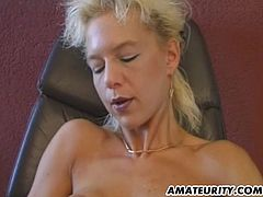 2 naughty blonde sluts share one lucky guy's dick and let it cum on tits ! After this nice fuck one fake titted blonde masturbates her pussy on a table...