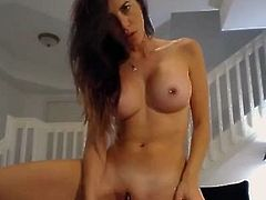 Hot brunette babe with big boobs and pierced nipples started showing her perfect sexy body.Than she took a big dildo and started at first nasty blowjob and deepthroat than a very hardcore sloppy gagging.She putted down her panties and began fingering and pounding her wet shaved pussy with huge dildo.After that she started gagging her throat again very sloppy spitting all around her pierced big tits.Than she took a smaller dildo and began fucking her butthole with it.For the end she used a fuck machine to pound her pussy and cumed.