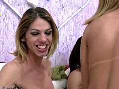Four stunning T-girls took turns slowly pumping each others tight assholes with long cucumbers until they were moaning and ready for some serious cock sucking and deep girl pole asshole fucking...