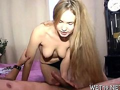 Stud is pummeling his hard pecker into beautys twat roughly