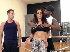 Dance lesson turn into sex, then time for Hubby to pull his dick out and stroke while Wifey gets her holes stretched wide open.