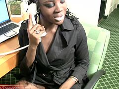 This full figured black shemale was stripping out of her office clothes and wanked and teased her big dick until it was standing at full attention and before long, this black cutie was moaning in...