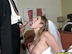 Blonde Alanah Rae with phat bottom and smooth twat gets down on her knees to take Voodoos rod deep down her throat