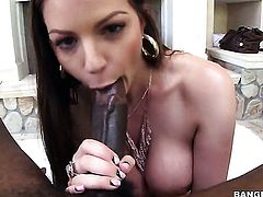 Brunette Brooklyn Chase with juicy butt and smooth bush takes rock hard worm in her hands
