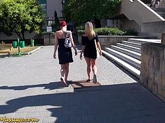 cute teen picked up on street for lesbian nuru masage with happy end