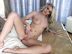 Dangerously seductive harlot Danielle Maye does striptease before she plays with her wet spot