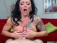 As this versed milf reveals her pierced fascinating big boobs, she'a also eager to taste dick. Click to watch busty Ashton spreading legs, then offering a kinky tit job. Don't miss the inciting scenes and have fun!