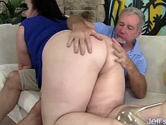 A older guy gets his dick sucked by plump cougar and then fucks her pussy hard in different positions. He cums in her mouth in the climax.