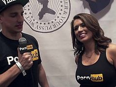Vitaly ZD at AVN 2016 with Eva Angelina and Pornhub Aria Interviews
