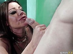Brunette Sovereign Syre shows her love for sausage sucking in blowjob action with hot fellow